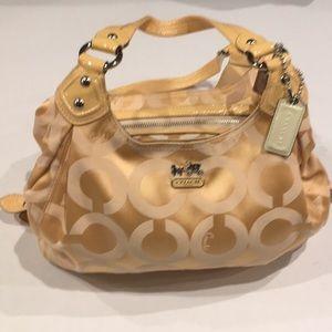 Coach 3 pocket cream colored optic large purse